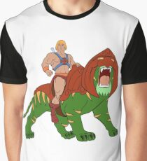 He-man and BattleCat Filmation Style Graphic T-Shirt