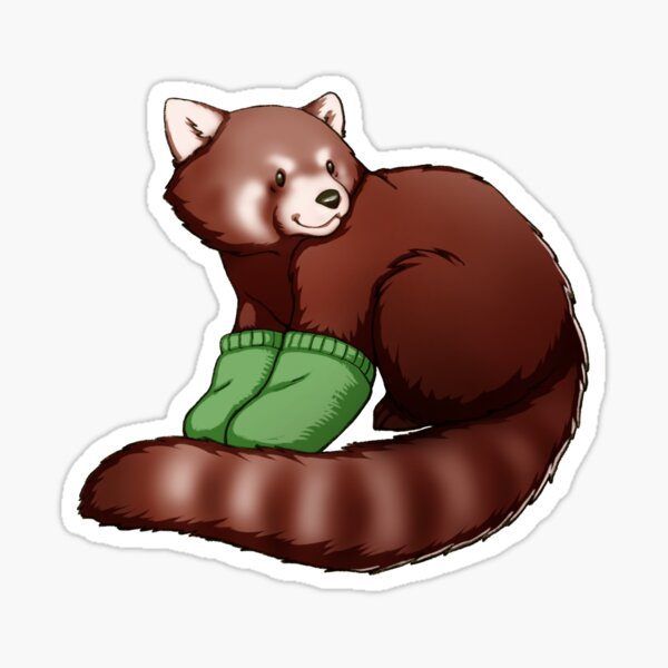 Red Panda Mittens Sticker