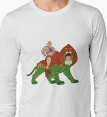 He-man and BattleCat Filmation Style Long Sleeve T-Shirt