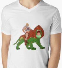 He-Man und BattleCat Filmation Style T-Shirt mit V-Ausschnitt für Männer