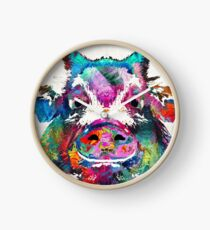 Colorful Pig Art - Squeal Appeal - By Sharon Cummings Clock