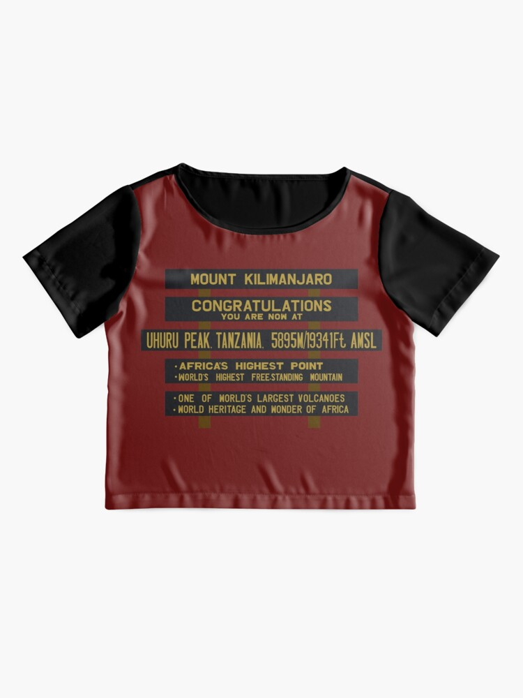 Alternate view of Mount Kilimanjaro, Uhuru Peak Sign, Tanzania Chiffon Top