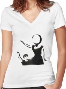 Neutral Milk Hotel Stencil Women's Fitted V-Neck T-Shirt