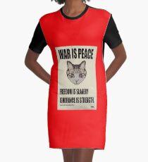 Orwellian Cat Says War Is Peace Graphic T-Shirt Dress