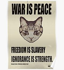 Orwellian Cat Says War Is Peace Poster