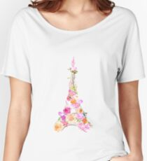 Floral Eiffel Tower Women's Relaxed Fit T-Shirt