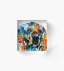 Colorful Dog Art - Heart And Soul - By Sharon Cummings Acrylic Block