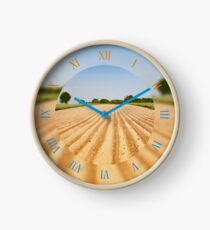 Ploughed agriculture field view Clock
