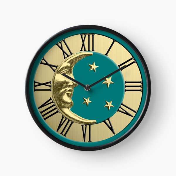 Art Deco Moon and stars - Teal and Gold Clock