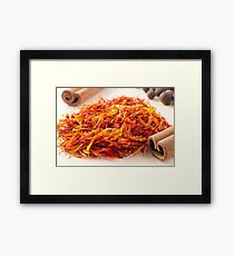 Macro view on fragrant saffron closeup  Framed Print