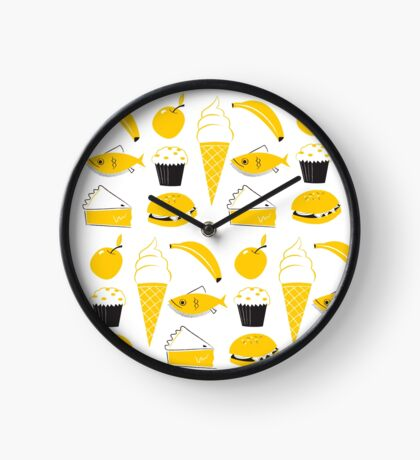 Retro Food Pattern Clock