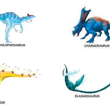 Dinosaur Stickers - Set of 4 by GoldenArchelon