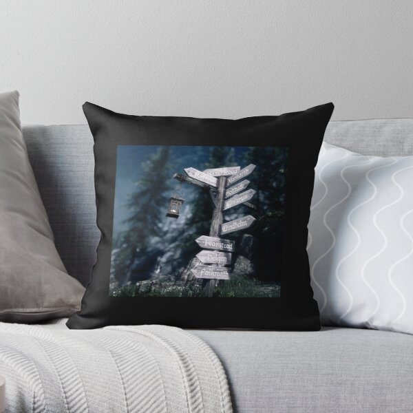 Signpost to Riverwood in Skyrim Throw Pillow