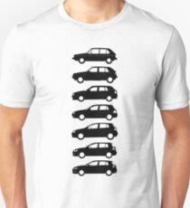 VW Golf MK1-MK7 Side Blueprint Full Black T-Shirt
