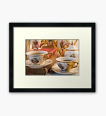 Retro porcelain coffee cups with hot espresso and vintage dishware Framed Print