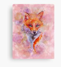 Watercolor colorful Fox Metallbild