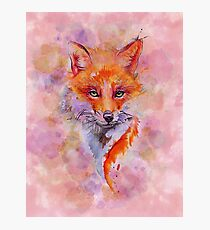 Watercolor colorful Fox Photographic Print