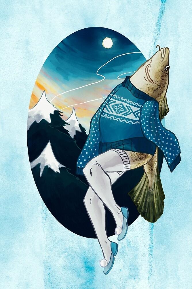 Festive Atlantic Cod Pinup by Livali Wyle