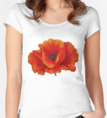 RED POPPY Painting Women's Fitted Scoop T-Shirt