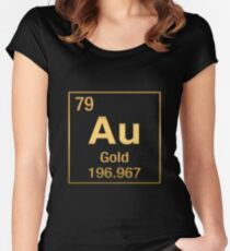 Periodic Table of Elements – Gold (Au) in Gold on Black Women's Fitted Scoop T-Shirt