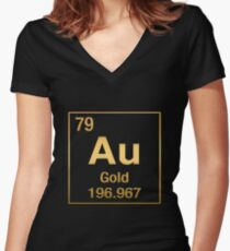 Periodic Table of Elements – Gold (Au) in Gold on Black Women's Fitted V-Neck T-Shirt