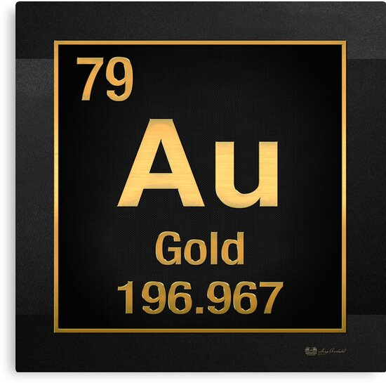 Periodic table of elements gold au in gold on black canvas periodic table of elements gold au in gold on black by serge averbukh urtaz Choice Image