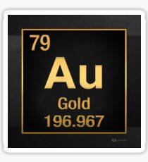 Periodic Table of Elements – Gold (Au) in Gold on Black Sticker