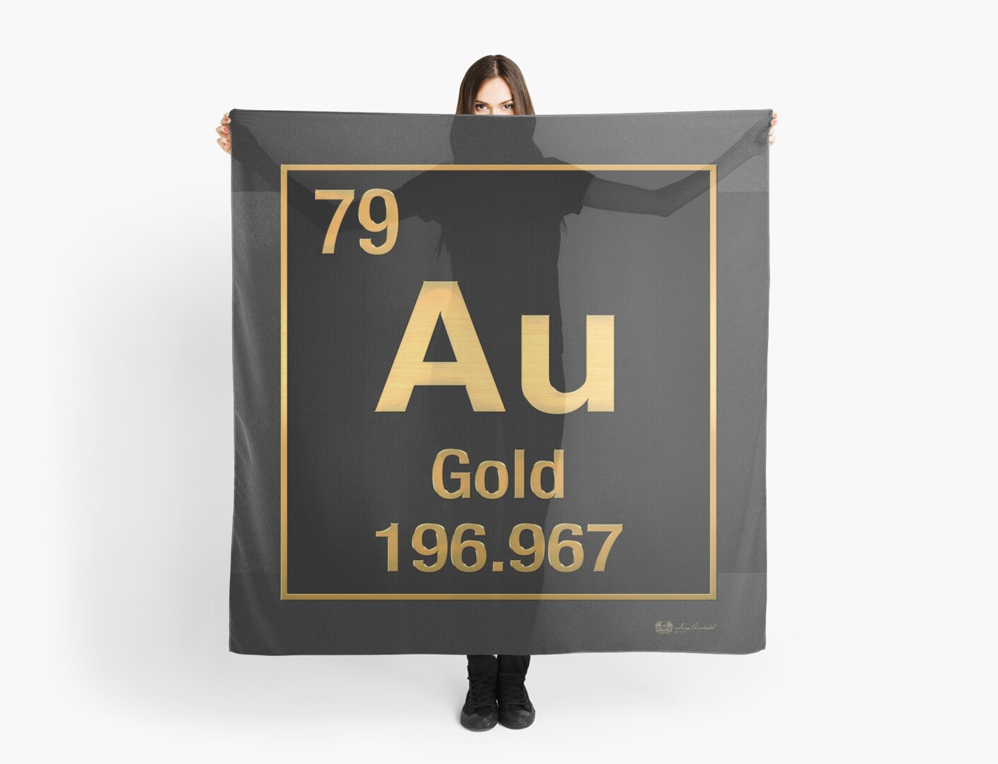 Periodic table of elements gold au in gold on black scarves by periodic table of elements gold au in gold on black by serge averbukh urtaz Gallery