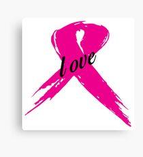 Love Pink Ribbon Canvas Print