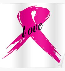 Love Pink Ribbon Poster