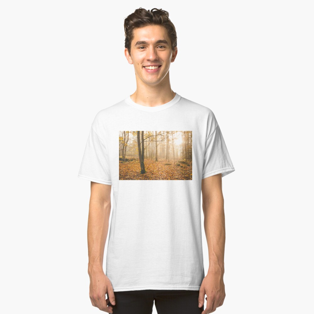 Foggy morning autumn forest Classic T-Shirt