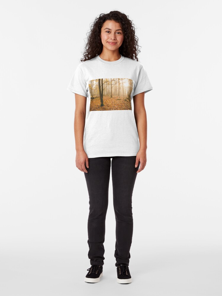 Alternate view of Foggy morning autumn forest Classic T-Shirt