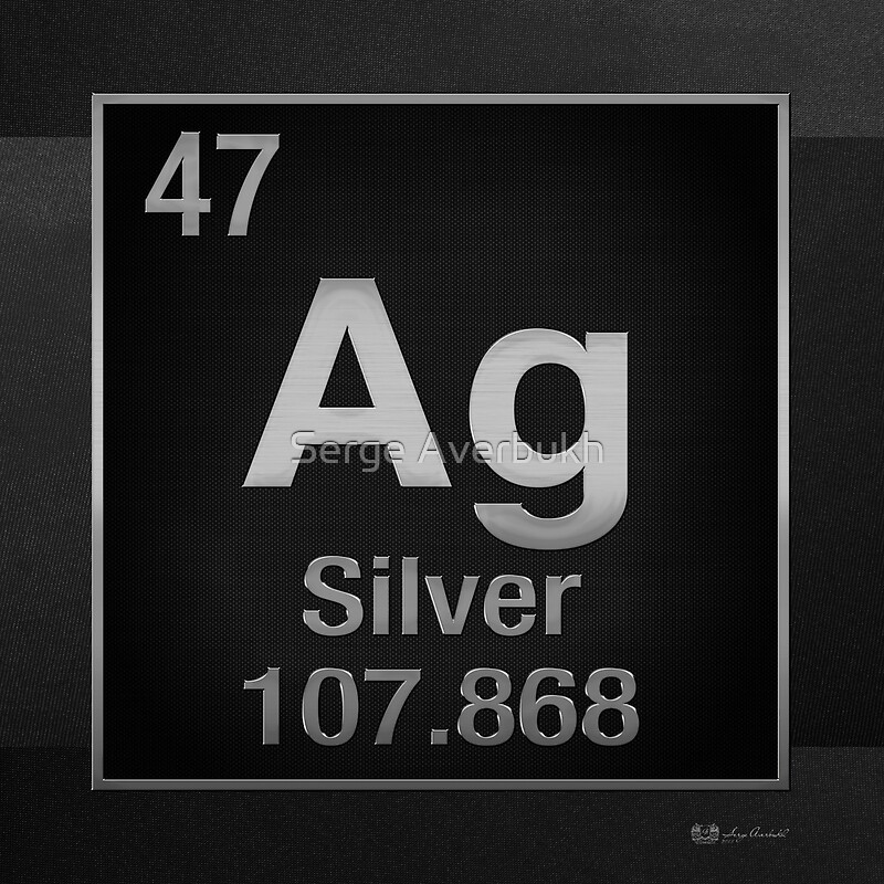 Periodic table of elements silver ag on black posters by serge periodic table of elements silver ag on black by serge averbukh urtaz Gallery
