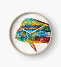 Colorful Dolphin Fish by Sharon Cummings Clock