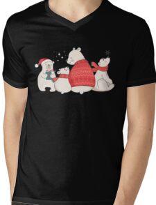 Polar Bear Winter Christmas Holiday Illustrations Mens V-Neck T-Shirt