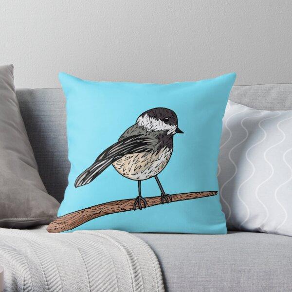 Black-Capped Chickadee Massachusetts State Bird Throw Pillow
