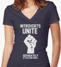 Introverts unite separately in your own homes Women's Fitted V-Neck T-Shirt