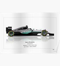 Nico Rosberg - Mercedes W07 - Champion edition art print Poster