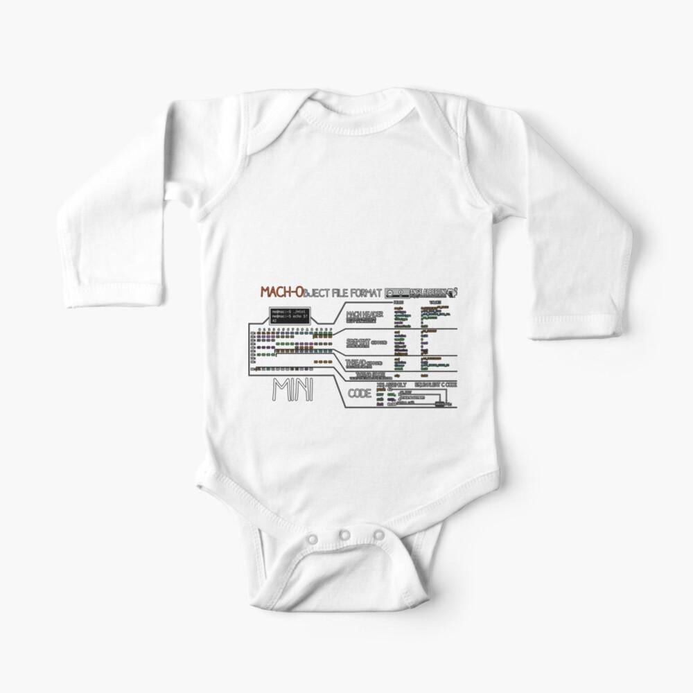 a mini Mach-O (white text) Baby One-Piece