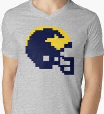 Michigan Wolverines 8-bit Football Helmet Men's V-Neck T-Shirt