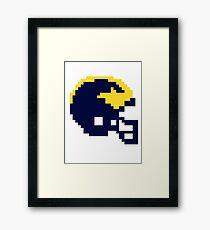 Michigan Wolverines 8-bit Football Helmet Framed Print