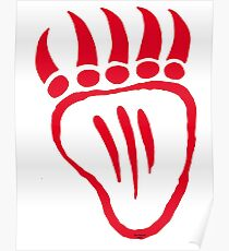 Native American Bear Foot Red Poster