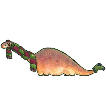 Peach Apatosaurus with Earmuffs by MadiRuss