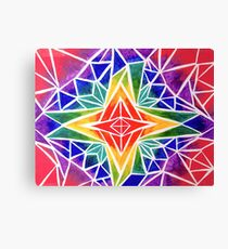 Rainbow Compass Rose Canvas Print