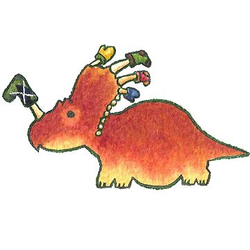 Orange Styracosaurus Derposaur with Socks by MadiRuss