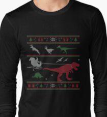 Dinosaur Xmas Sweater Long Sleeve T-Shirt