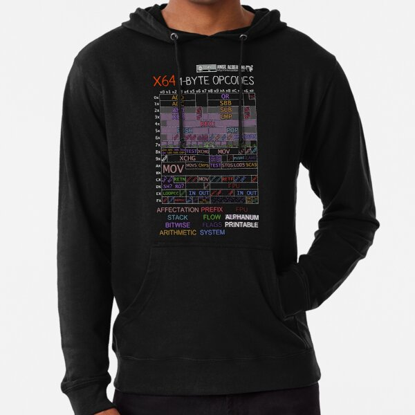 x64 1-byte opcodes (white text) Lightweight Hoodie
