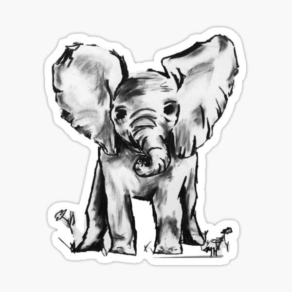 Black and White Elephant Sticker