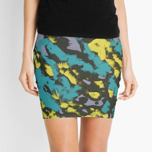 Turquoise & Yellow Mini Skirt