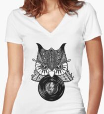 Rock 'n' Roll Owl Night Women's Fitted V-Neck T-Shirt